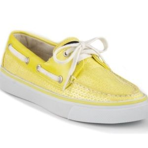 Like New-SPERRY Bahama Yellow Sequin Boat Shoes